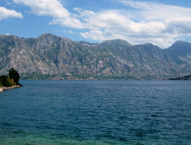 The beautiful view of Kotor's mountains from Perast.