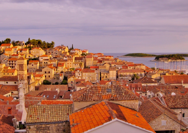 From the balcony of Tri Sestrice Apartments, you'll have a commanding view of Hvar and the Pakleni Islands.